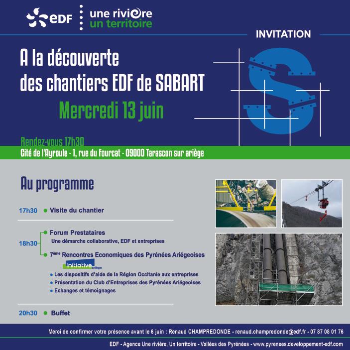 invitation à la découverte des chantiers de Sabart - juin 2018