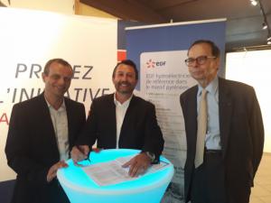 Signature convention EDF - Plateforme Initiative en présence de Louis Schweitzer