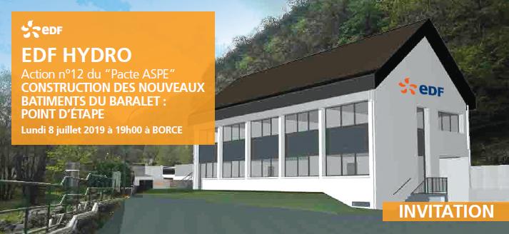 Invitation EDF Hydro au point d'étape de construction des locaux du GU de Baralet